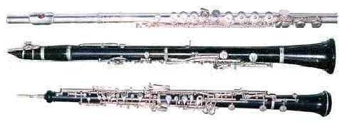 photo of flute, clarinet and oboe
