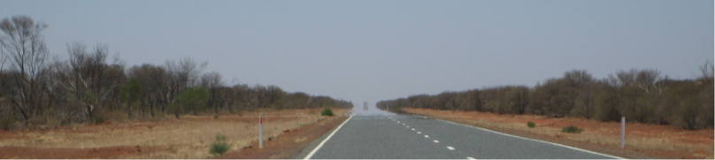 Roadtrain in a mirage